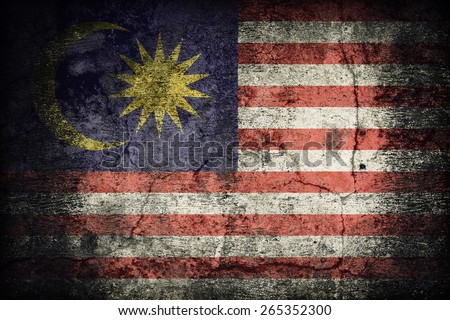 Malaysia flag pattern on dirty old concrete wall texture ,retro vintage style - stock photo