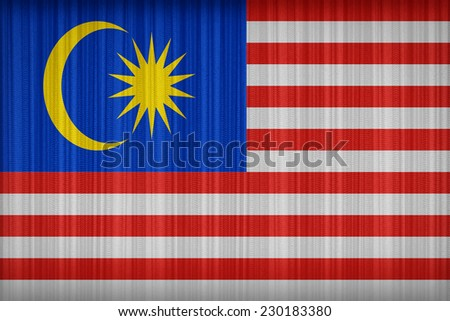 Malaysia flag pattern on the fabric curtain,vintage style - stock photo