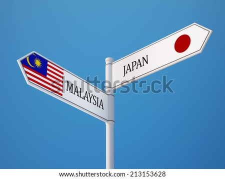 Malaysia Japan High Resolution Sign Flags Concept