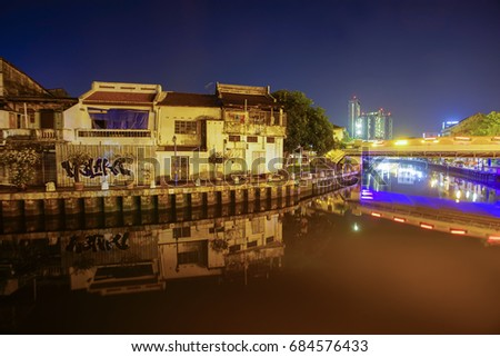 MALAYSIA - June 23: Landscape of Malacca city along Melaka river on June 23, 2017 in Malacca, Malaysia. Malacca has been listed as a UNESCO World Heritage Site since 7 July 2008.