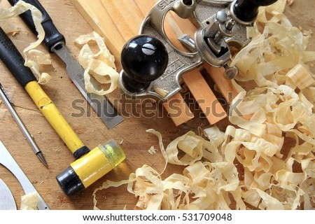 MALAYSIA, Kuala Lumpur, 08 December 2016: Carpentry workshop with tools and supplies.
