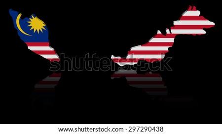 Malaysia map flag with reflection illustration - stock photo