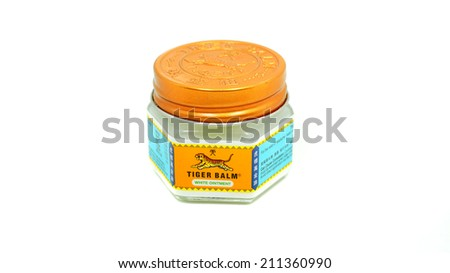 MALAYSIA - MAY 29, 2014 : Tiger Balm white oinment used to relief of headache, nasal congestion, insect bites, itchiness and flatulence