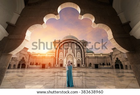 Malaysia Mosque with Muslim pray in Malaysia, Asian - stock photo