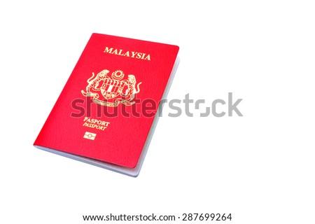 Malaysia Passports isolated on white bakcground - stock photo