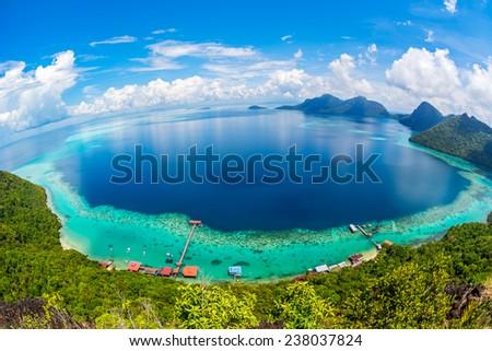 Malaysia Sabah Borneo Scenic View of Tun Sakaran Marine Park tropical island (Bohey Dulang) Semporna, Sabah. - stock photo