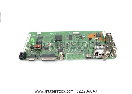 MALAYSIA - SEP 1, 2014: close-up of electronic circuit board in white background.