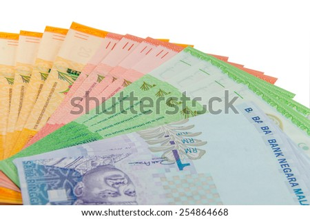 Malaysian currency isolated on white background - stock photo