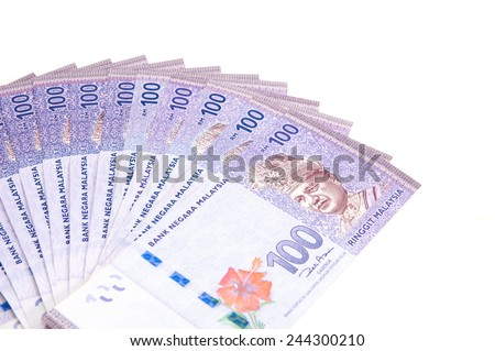 Malaysian currency on white backgorund - stock photo