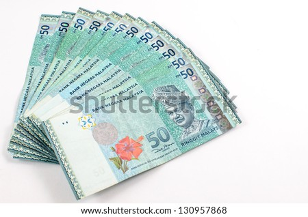 malaysian currency - RM50 isolated on white background