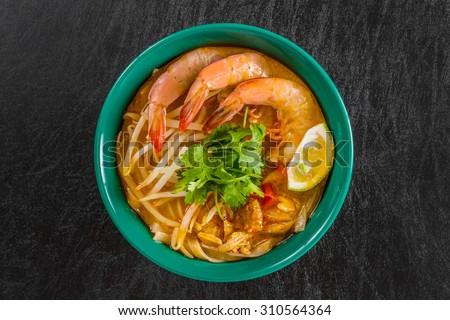 Malaysian dish prawns Laksa  - stock photo