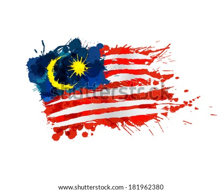 Malaysian flag made of colorful splashes