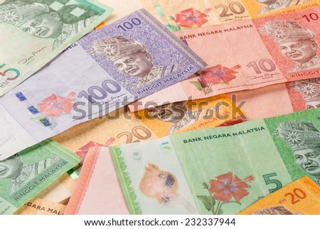 Malaysian Ringgit banknotes  - stock photo