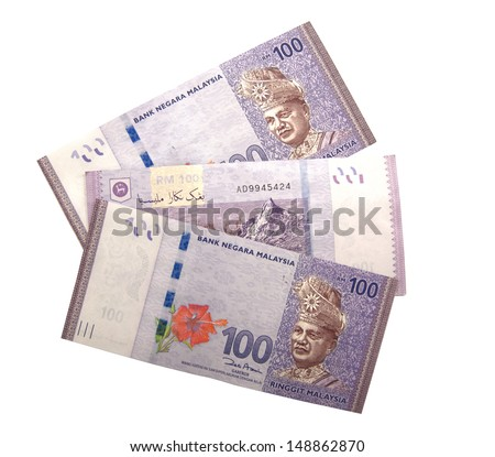 Malaysian Ringgit currency in the form of 100 Ringgit notes. - stock photo