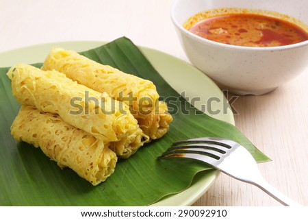 Malaysian street food, Roti Jala  - stock photo
