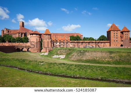 Malbork Castle in Poland, medieval fortress built by the Teutonic Knights Order