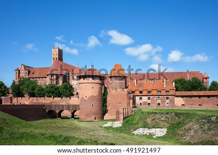 Malbork Castle in Poland, medieval fortress built by the Teutonic Knights Order, east side
