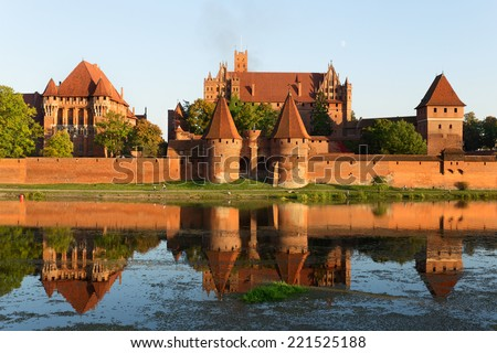 Malbork castle, Teutonic Knights' fortress also known as Marienburg, UNESCO World Heritage Site, Poland. - stock photo