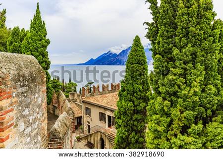 Malcesine castle by the Garda Lake in Italy. - stock photo