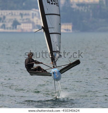 MALCESINE, ITALY - JULY 10: waszp on the last day of the foiling week 2016 on Garda lake. on july 10, 2016 in Malcesine, Italy. - stock photo