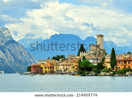 Malcesine on Garda lake, Italy - stock photo
