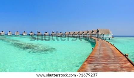 Maldive water villa panorama - stock photo