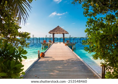 Maldives, a place on the beach for weddings. - stock photo