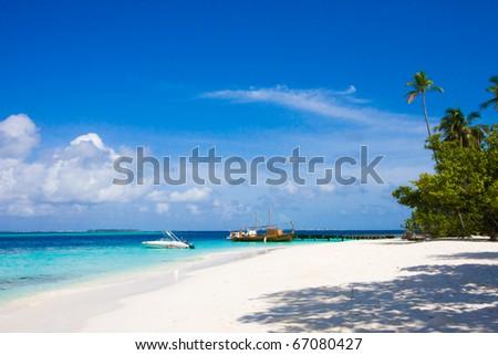 Maldives beach scene - stock photo