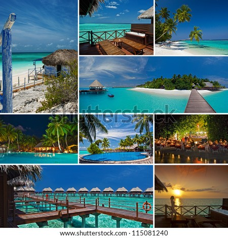 Maldives Collage - stock photo