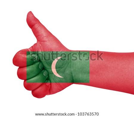 Maldives flag on thumb up gesture like icon on white background - stock photo