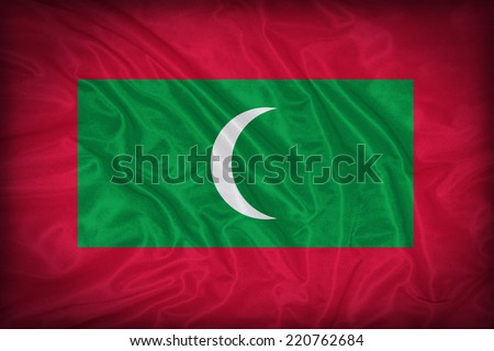 Maldives flag pattern on the fabric texture ,vintage style - stock photo
