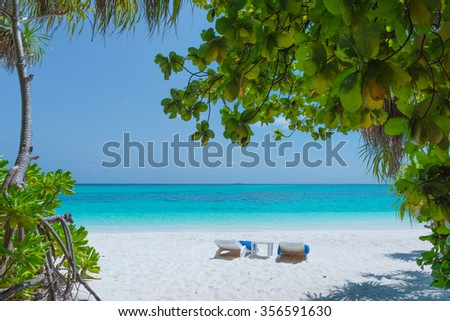 Maldives. Island in the ocean. Palm trees on the white sand beach. Turquoise water of the lagoon. Couple deck chairs side by side. - stock photo