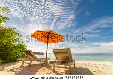 Maldives tranquil beach. Beautiful palm trees and tropical landscape. Moody blue sky and blue sea for luxury summer vacation and holiday background concept.