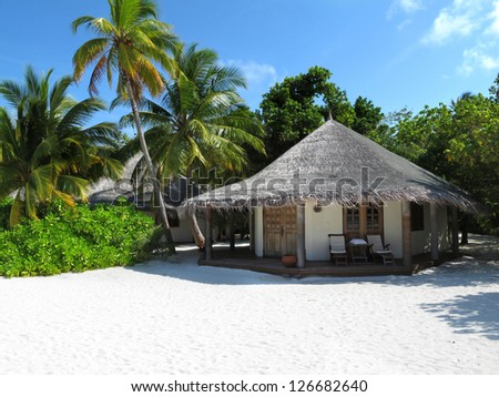 Maldivian beach bungalow with coconut trees - stock photo