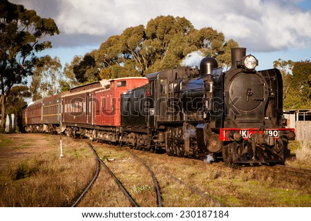MALDON - MAY 11: A steam engine from Victorian Goldfields Railway in Maldon, Victoria, Australia on May 11 2014