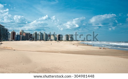 MALDONADO, URUGUAY, AUGUST, 9: Residents of Punta del Este held on the beach unusually hot weekend, when daytime temperatures reach +31 Celsius in winter - August 9, 2015, In Maldonado, Uruguay