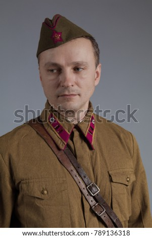 male actor in the form of an officer of the Red Army major during the Second World War