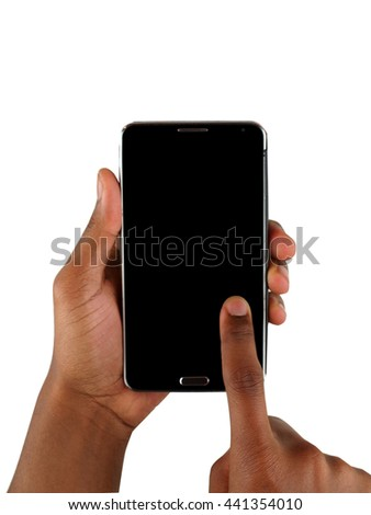 male African American's hands texting ona smartphone with blank screen for adding imagery. - stock photo