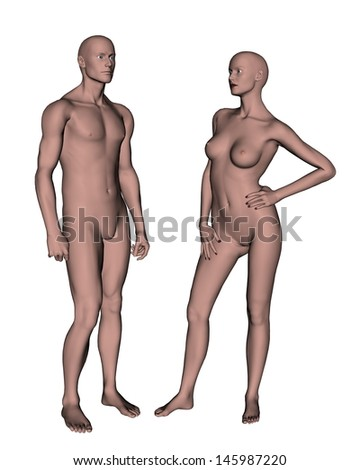 Male and female attraction in white background - stock photo