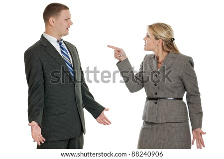 Male and female business people arguing isolated on a white background