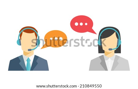 Male and female call center avatar icons with a faceless man and woman wearing headsets with colorful speech bubbles conceptual of client services and communication - stock photo