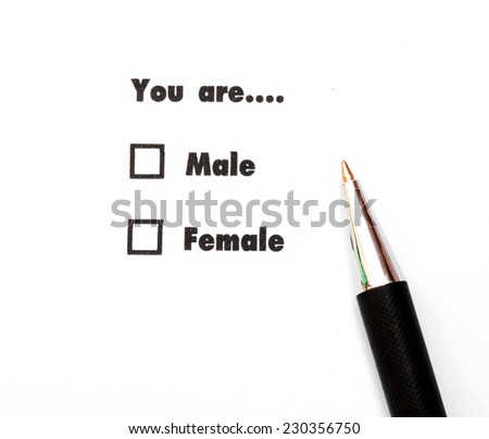 Male and female check boxes ink print  - stock photo