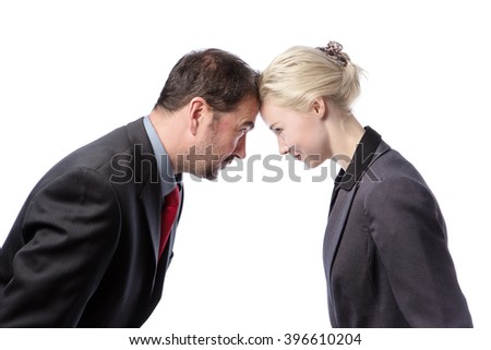 Male and female Colleagues arguing against each other, isolated on a white background.