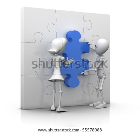 male and female 3d character pushing the last jigsaw piece in position - 3d illustration/render
