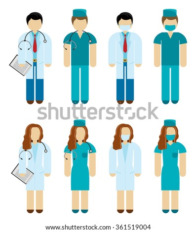 Male and female doctor and surgeon characters in scrubs