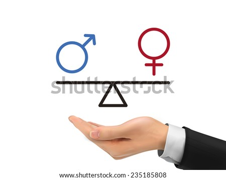 male and female equality concept holding by realistic hand over white background - stock photo