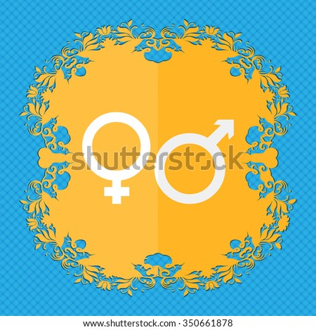 male and female. Floral flat design on a blue abstract background with place for your text. illustration - stock photo