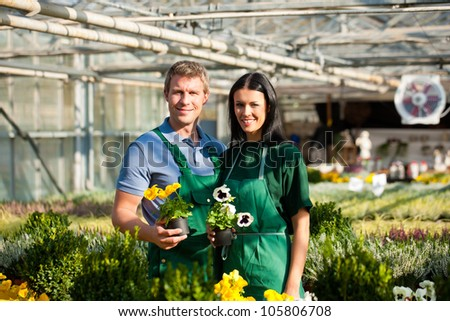 Male and female florist or gardener in flower shop or nursery - stock photo