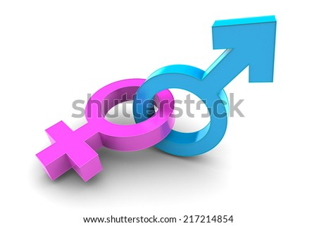 Male and Female gender symbol isolated on white background