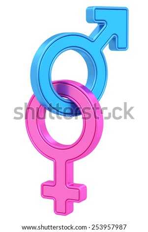Male and female gender symbols chained together on white background. High resolution 3D image